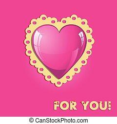 rózsaszínű, szív, kártya, kedves