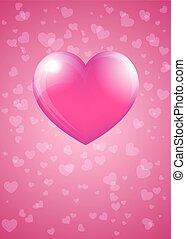 rózsaszínű, szív, -, kedves, szarvasbika, kártya