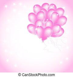rózsaszínű, szív, léggömb, csillaggal díszít, háttér