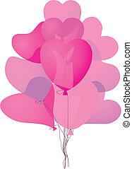 rózsaszínű, szív, léggömb, színezett, alakú
