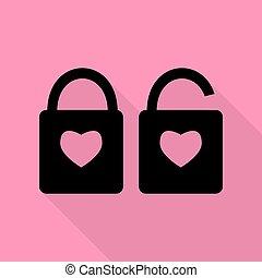rózsaszínű, szív, mód, árnykép, lakás, egyszerű, zár, heart., lock., alakzat., aláír, háttér., alakít, fekete, út, árnyék, ikon