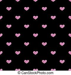 rózsaszínű, szív, seamless, black háttér, fénylik