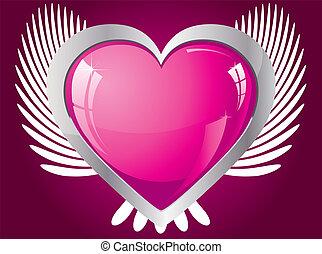 rózsaszínű, szív, szárnyas, ábra, vektor, fénylik