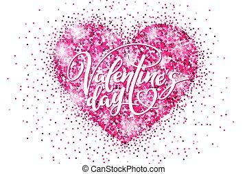 rózsaszínű, szív, transzparens, poszter, valentine's, fénylik, diszkont, transzparens, sablon, meghívás, bevásárlás, ünnep, lettering., nap