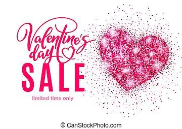 rózsaszínű, szív, transzparens, poszter, valentine's, fénylik, kiárusítás, diszkont, transzparens, sablon, meghívás, bevásárlás, ünnep, lettering., nap