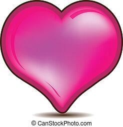 rózsaszínű, szív, valentines, sima, jel