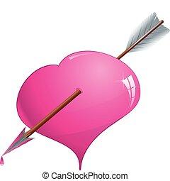 rózsaszínű, szív, vektor, ábra, éles, nyíl, fénylik