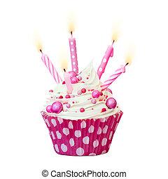 rózsaszínű, születésnap, cupcake