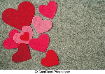 rózsaszínű, szürke, valentine's, filc, háttér., piros, nap, piros