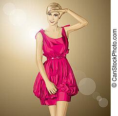 rózsaszínű, szőke, vektor, ruha, meglepődött