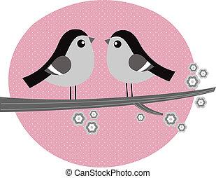 rózsaszínű, szeret, párosít, retro, háttér, madarak