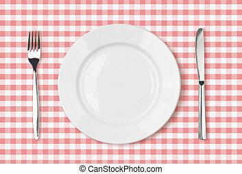 rózsaszínű, tányér, piknik, tető, ruhaanyag, vacsora asztal, üres, kilátás