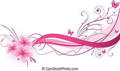 rózsaszínű, tervezés, plumeria, florals