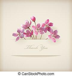 rózsaszínű, 'thank, you', eredet, vektor, virágos, menstruáció, kártya