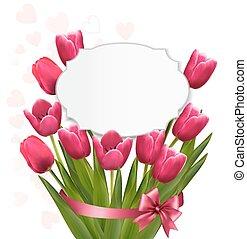 rózsaszínű, tulips., vector., háttér, ünneplés