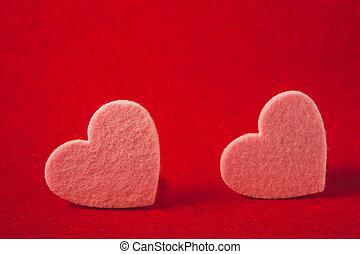 rózsaszínű, valentine's, filc, háttér, piros, nap, piros