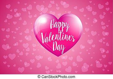 rózsaszínű, valentines, -, kedves, szarvasbika, nap, kártya, boldog