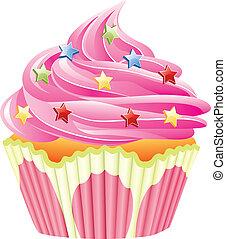 rózsaszínű, vektor, csepeg, cupcake