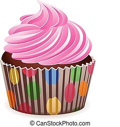 rózsaszínű, vektor, cupcake