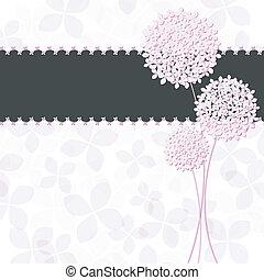 rózsaszínű virág, bíbor, hortenzia, köszönés, tavasz, kártya