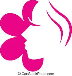 rózsaszínű virág, ), (, elszigetelt, arc, női, fehér, ikon