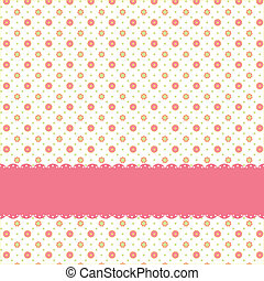 rózsaszínű virág, motívum, polka, seamless, pont