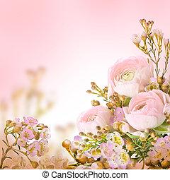 rózsaszínű virág, nemes, csokor, agancsrózsák, kicsi