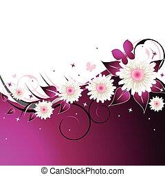 rózsaszínű, virágos, elvont, háttér