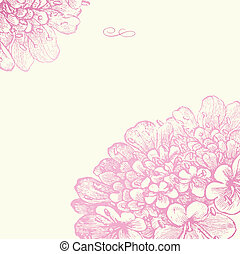 rózsaszínű, virágos, keret, vektor, derékszögben