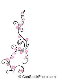 rózsaszínű, virágos, menstruáció, háttér, lombozat