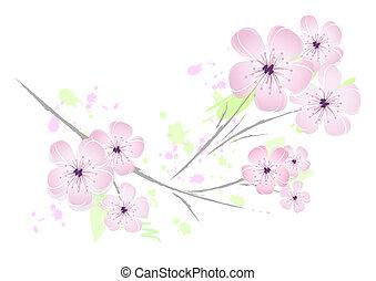rózsaszínű, virágos, virág, tervezés, -