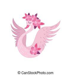 rózsaszínű, wings., hattyú, ábra, háttér., vektor, fehér, elterjed