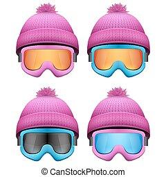 rózsaszínű, woolen, állhatatos, tél, hó, kivezetés, kötött, hat., goggles., sport