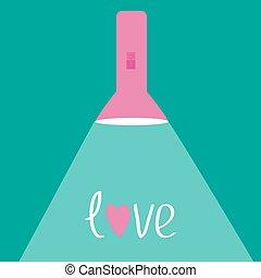 rózsaszínű, zseblámpa, light., fénysugár, szeret, card., lakás, design.