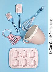 rózsaszín háttér, kék, kilátás, konyha, tető, felszerelés, backing