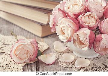 rózsaszín rózsa, előjegyez, öreg