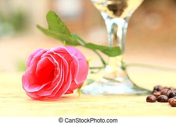 rózsaszín rózsa, kávécserje fej