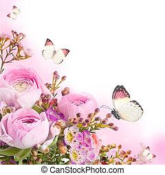 rózsaszín rózsa, lepke, csokor, nemes