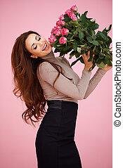 rózsaszín rózsa, nő, eleven, boldog