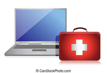 rögzítő, laptop, fogalom, veszteség