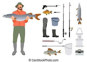 rögzít, skicc, halász, fish, kézbesít