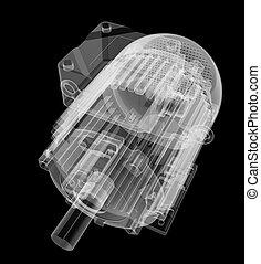 röntgen, mód, motor, elektromos