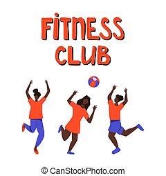 röplabda, sport, játék, ábra, lány, vektor, lettering., lakás, kéz, húzott, öltözék