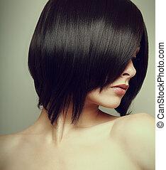 rövid, szüret, haj, fekete, model., női, szexi, portré, style.