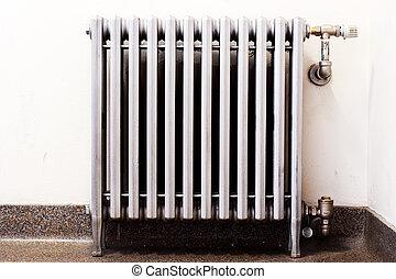 radiátor, closeup, öreg új, termosztát