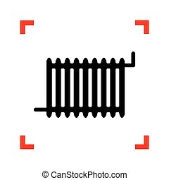 radiátor, kanyarodik, cégtábla., összpontosít, háttér., fekete, fehér, ikon