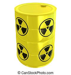 radioaktív, fehér, harckocsi, elszigetelt