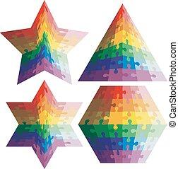 rainbow., geometric alakzat, kirakós játék, állhatatos, vektor, illu, befest