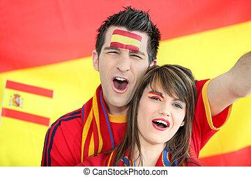 rajongó, labdarúgás, éneklés, spanyol