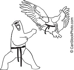rajzóra, eagle., illustration., hord, harcias, vektor